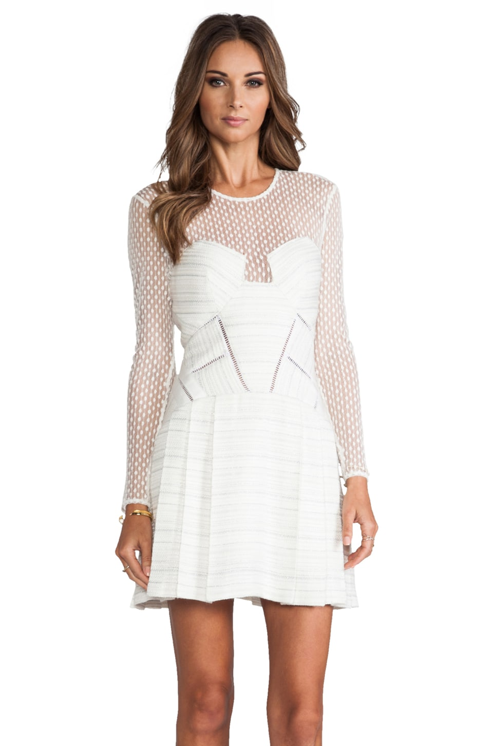 self-portrait Paneled Long Sleeve Dress in Off White