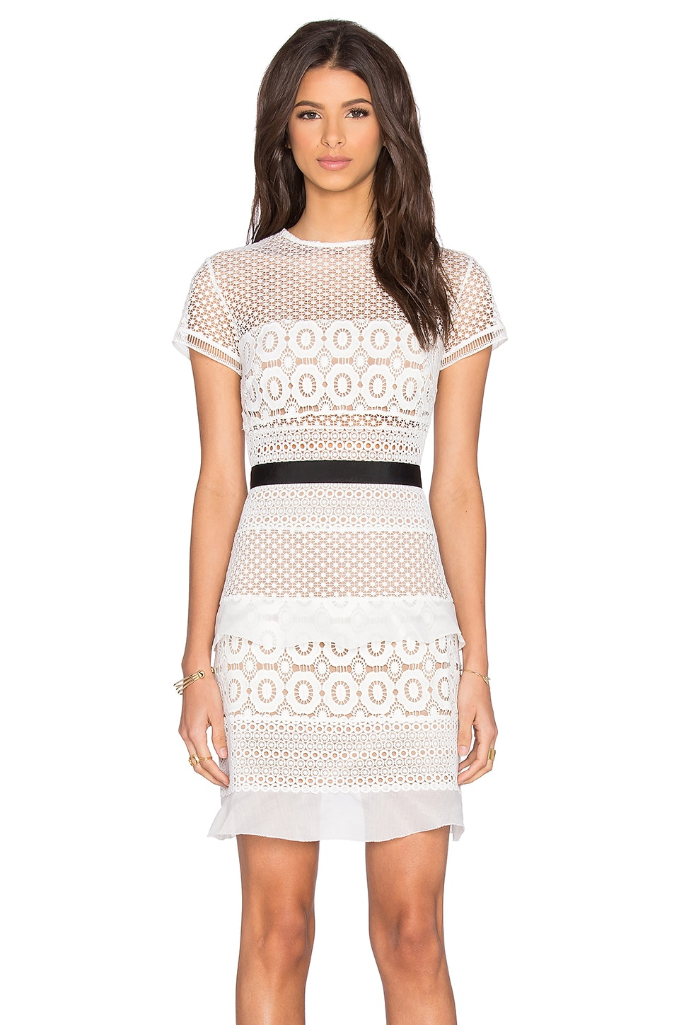 self-portrait Oblique Lace Mini Dress in White & Black