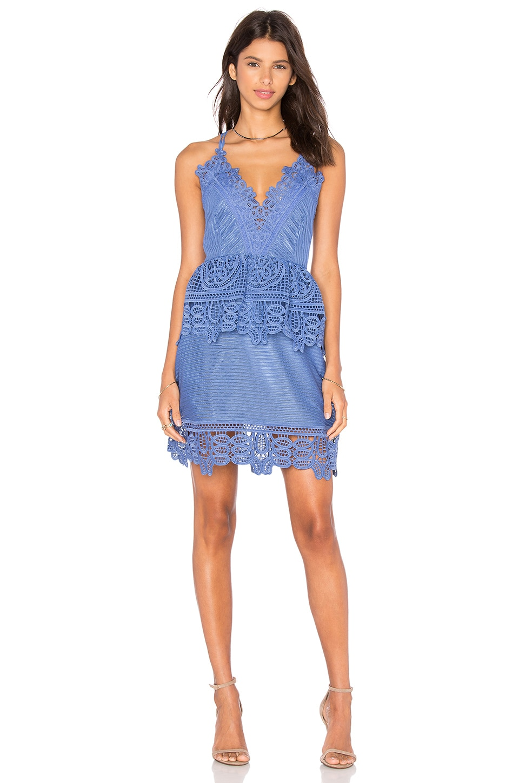 self-portrait Lace Peplum Dress in Cornflower Blue | REVOLVE