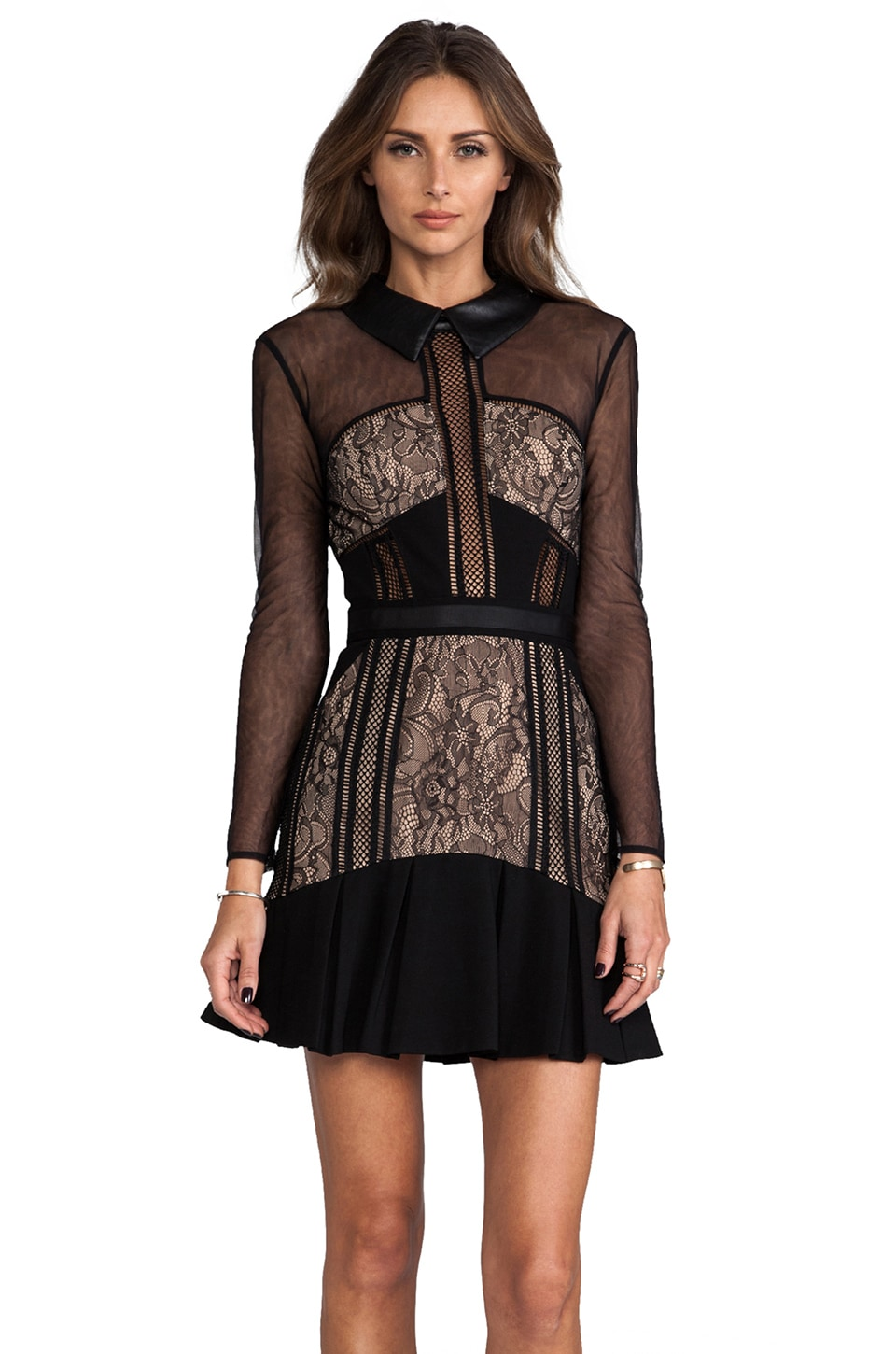 self-portrait Sheer Light Dress in Black/Nude