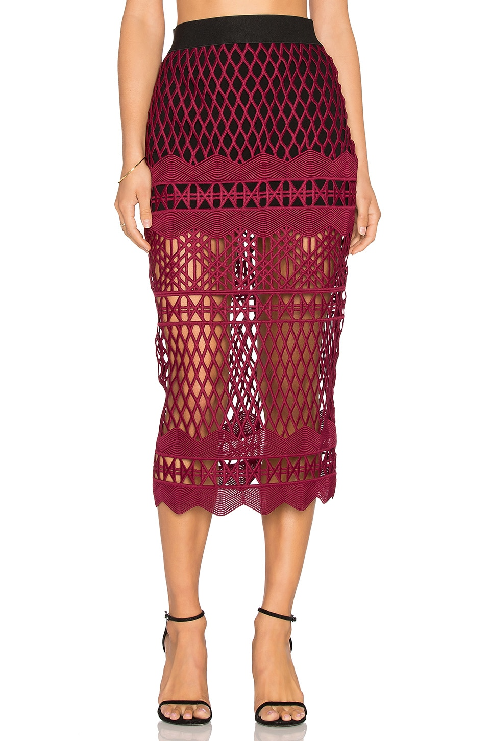 self-portrait Cut Out Lace Pencil Skirt in Burgundy & Black | REVOLVE