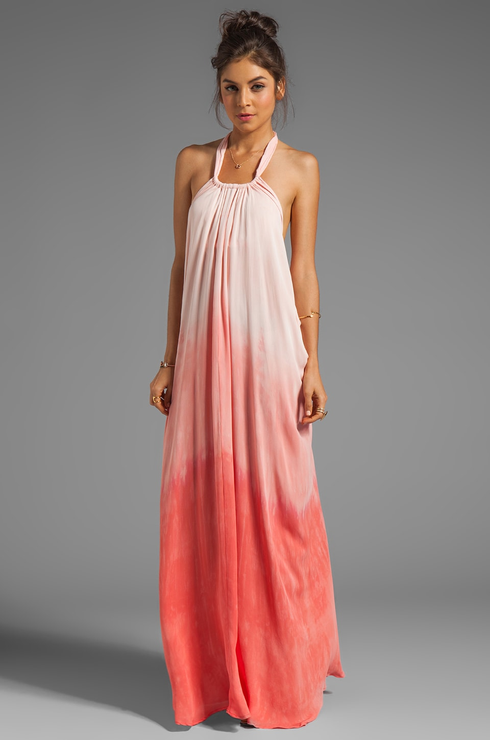 sen Marlena Dress in Salmon Dip Dye