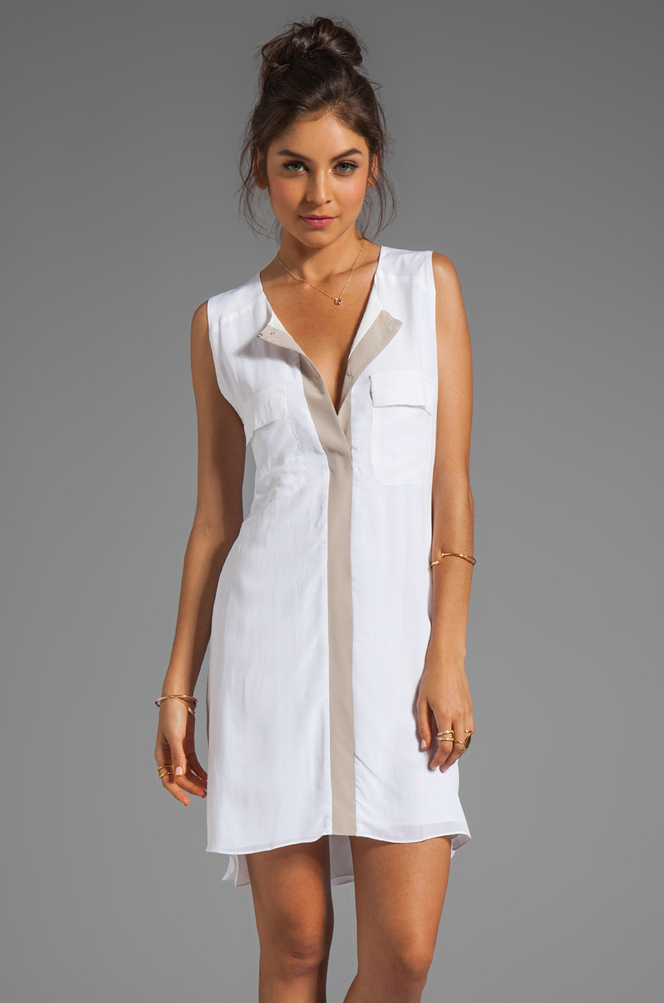 sen Pavlova Dress in White/Sand