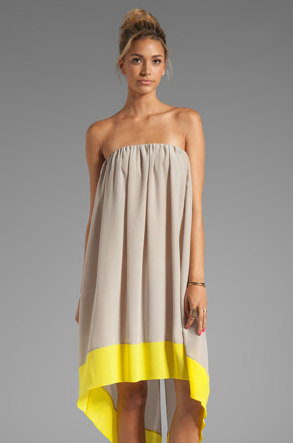 sen Margita Dress in Sand/Yellow Color Block