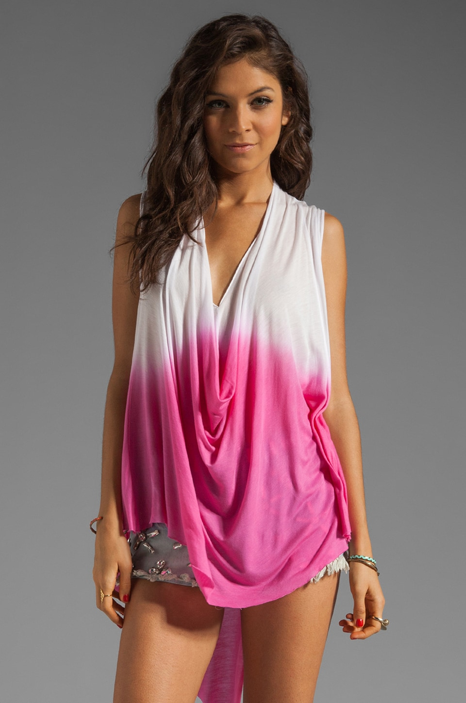 sen Kara Top in Fuchsia Dip Dye