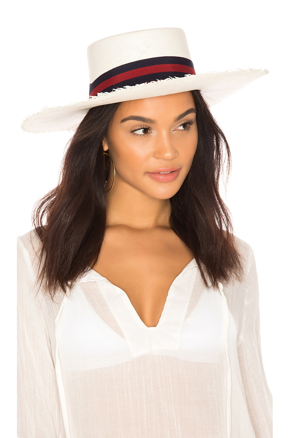 SENSI STUDIO Long Brim Boater Hat in White, Navy & Red