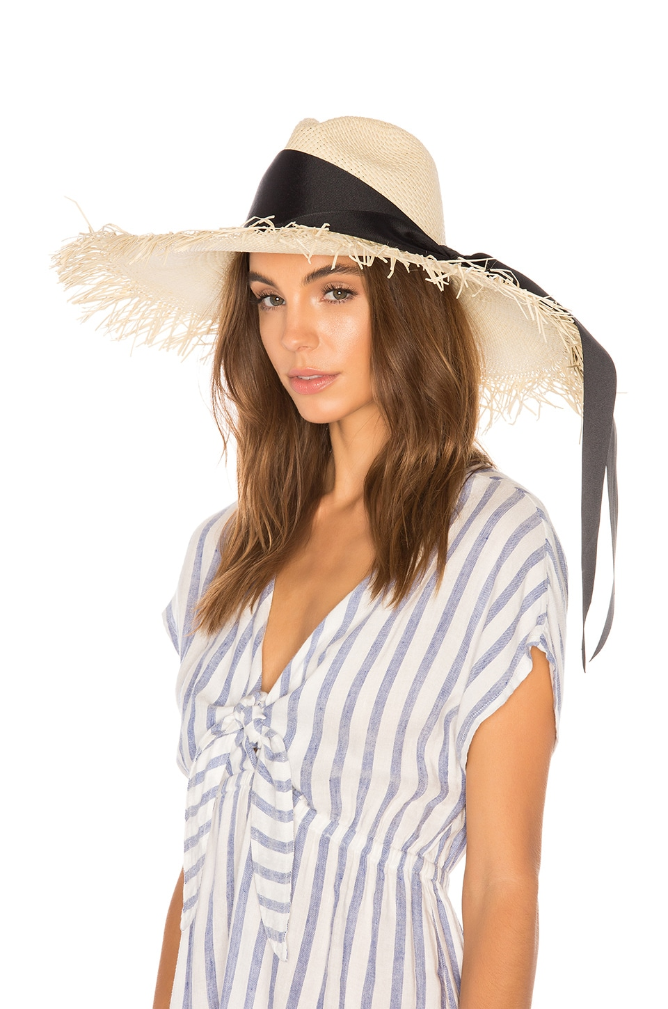 SENSI STUDIO Extra Long Brim Panama Hat in Natural & Black