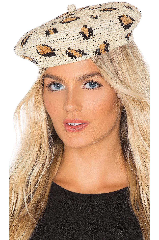 SENSI STUDIO Classic Beret Hat in Leopard Unique