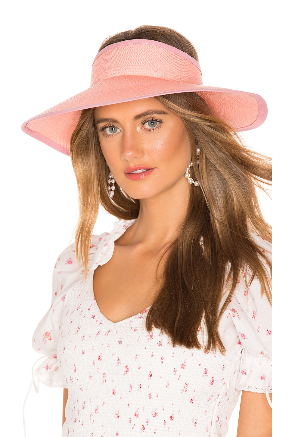 SENSI STUDIO Long Brim Visera Visor in Rose & Rose