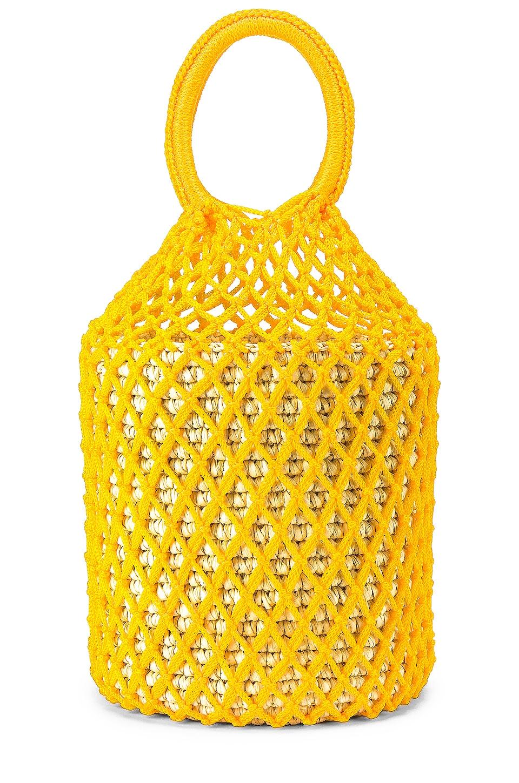 SENSI STUDIO Straw Netted Bucket Bag in Natural Straw & Yellow Cord