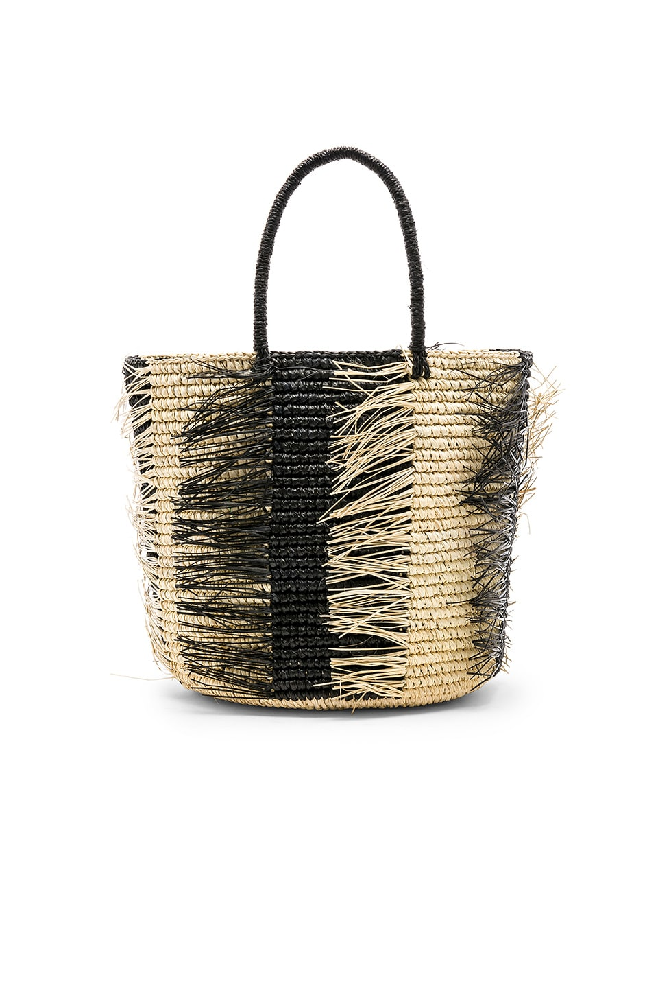 Maxi Striped Frayed Tote
