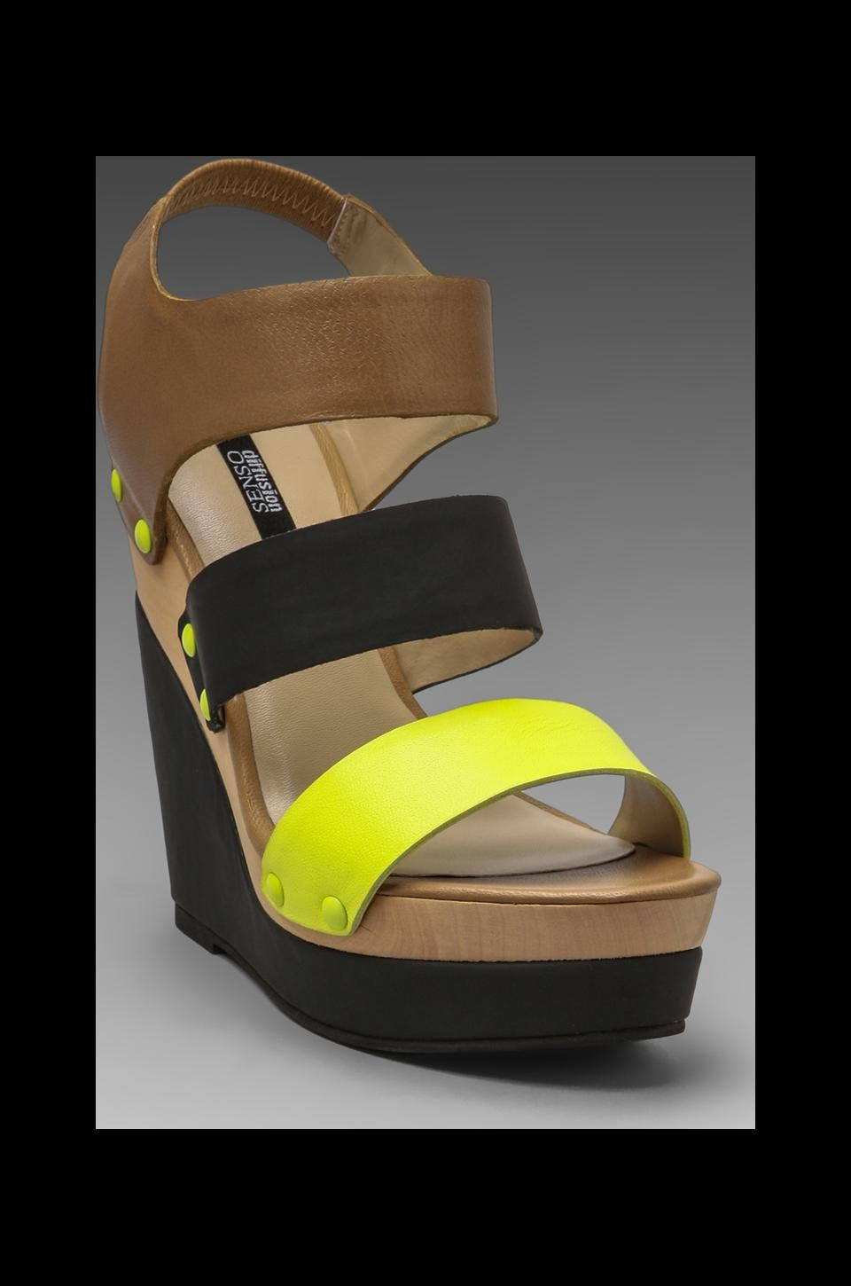 SENSO DIFFUSION Tessa Wedge Sandal in Yellow/Black/Beige