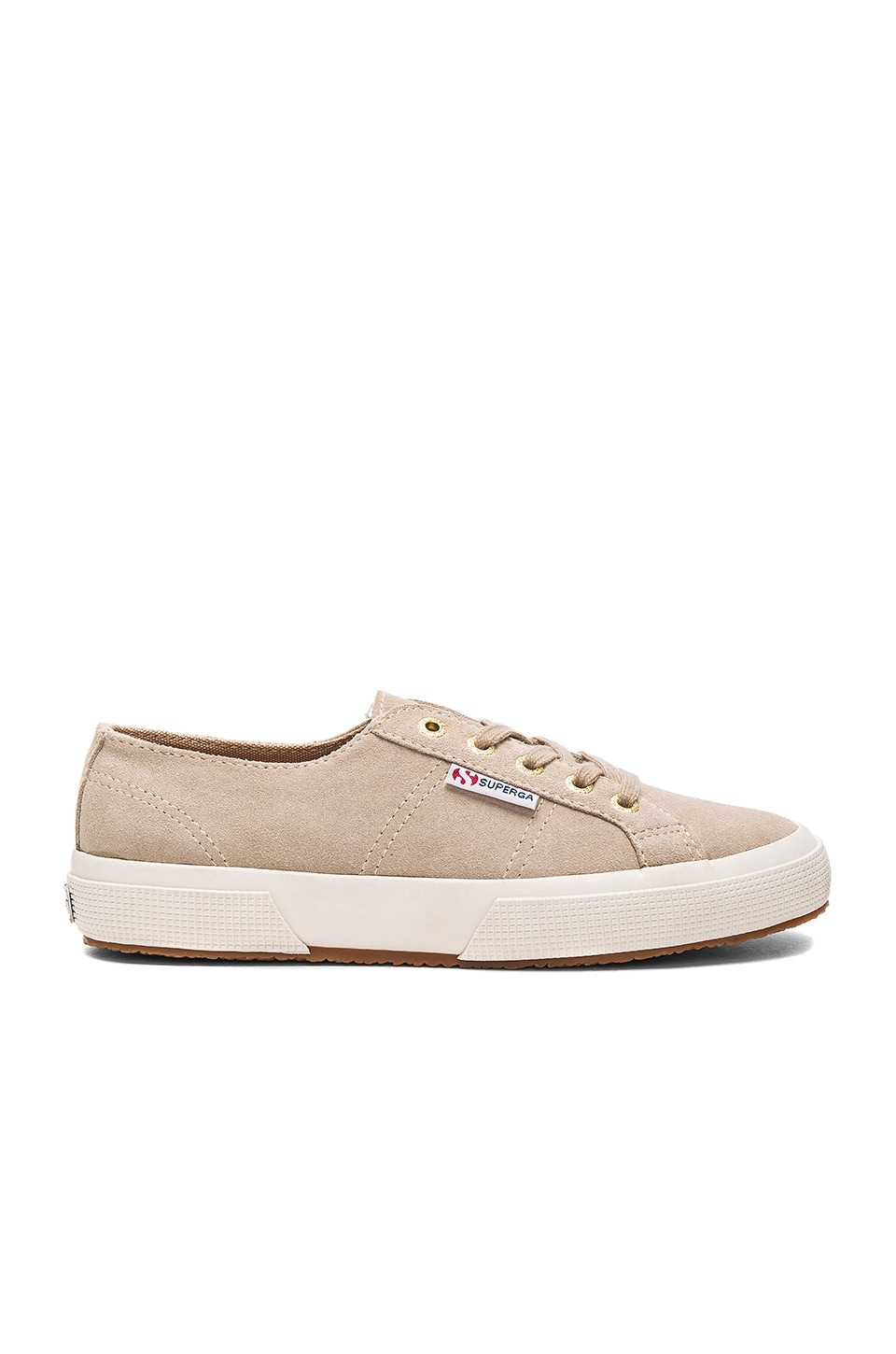 Superga 2750 Sueu Sneaker in Sand With Gold Eyelets
