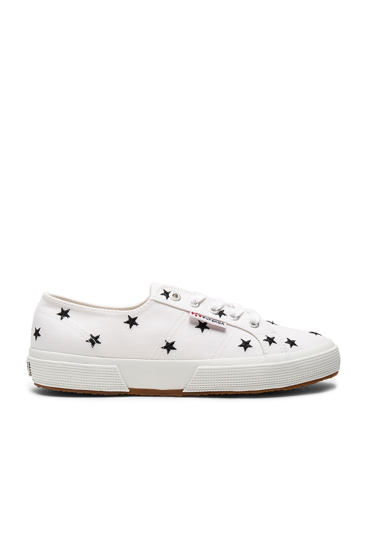 Superga 2750 Sneaker in White & Black Stars