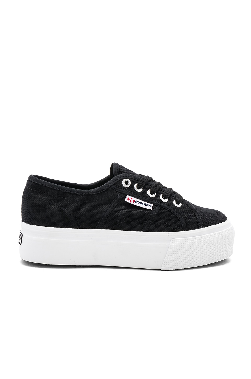 Superga 2790 Platform Sneaker in Black & White Sole