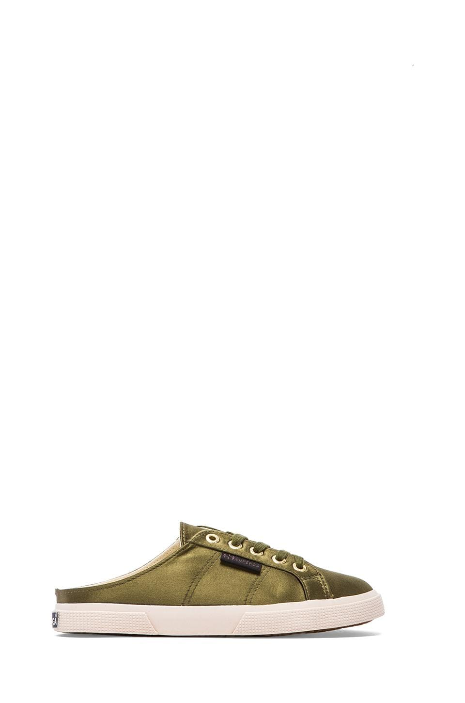Superga Satin Sneaker in Olive Green