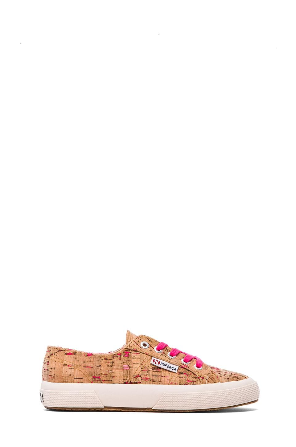 Superga Neon Cork Sneakers in Neon Pink