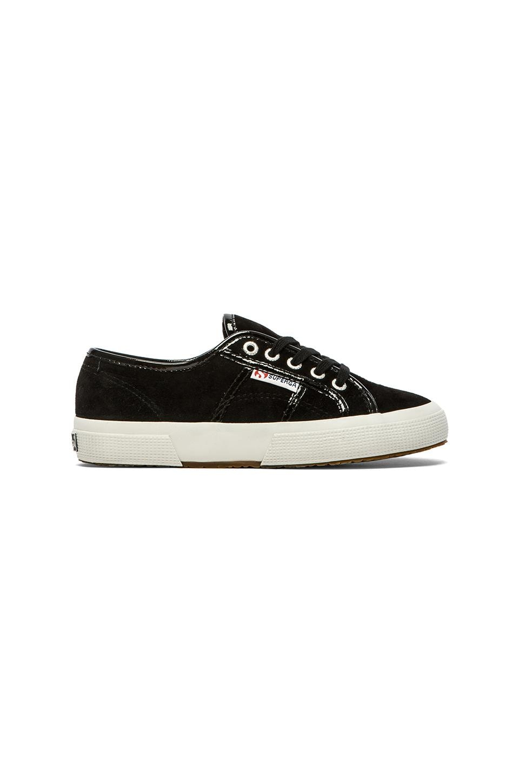 Superga Suede Patent Sneaker in Black Black