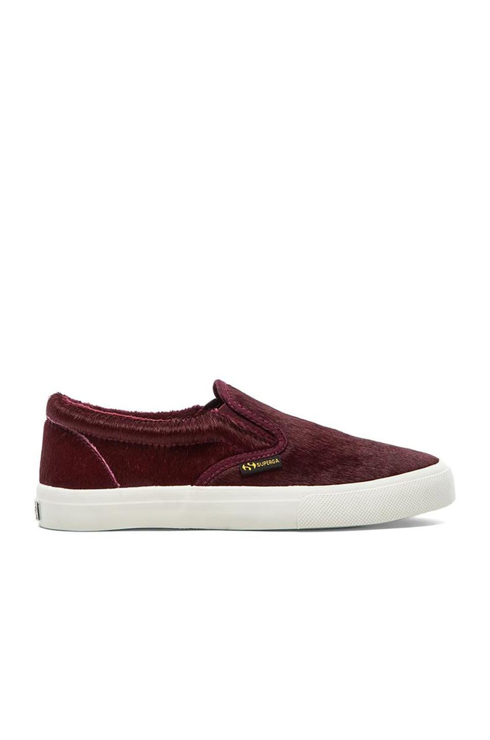Superga Leather Horse Slip On with Cow Fur in Bordeaux