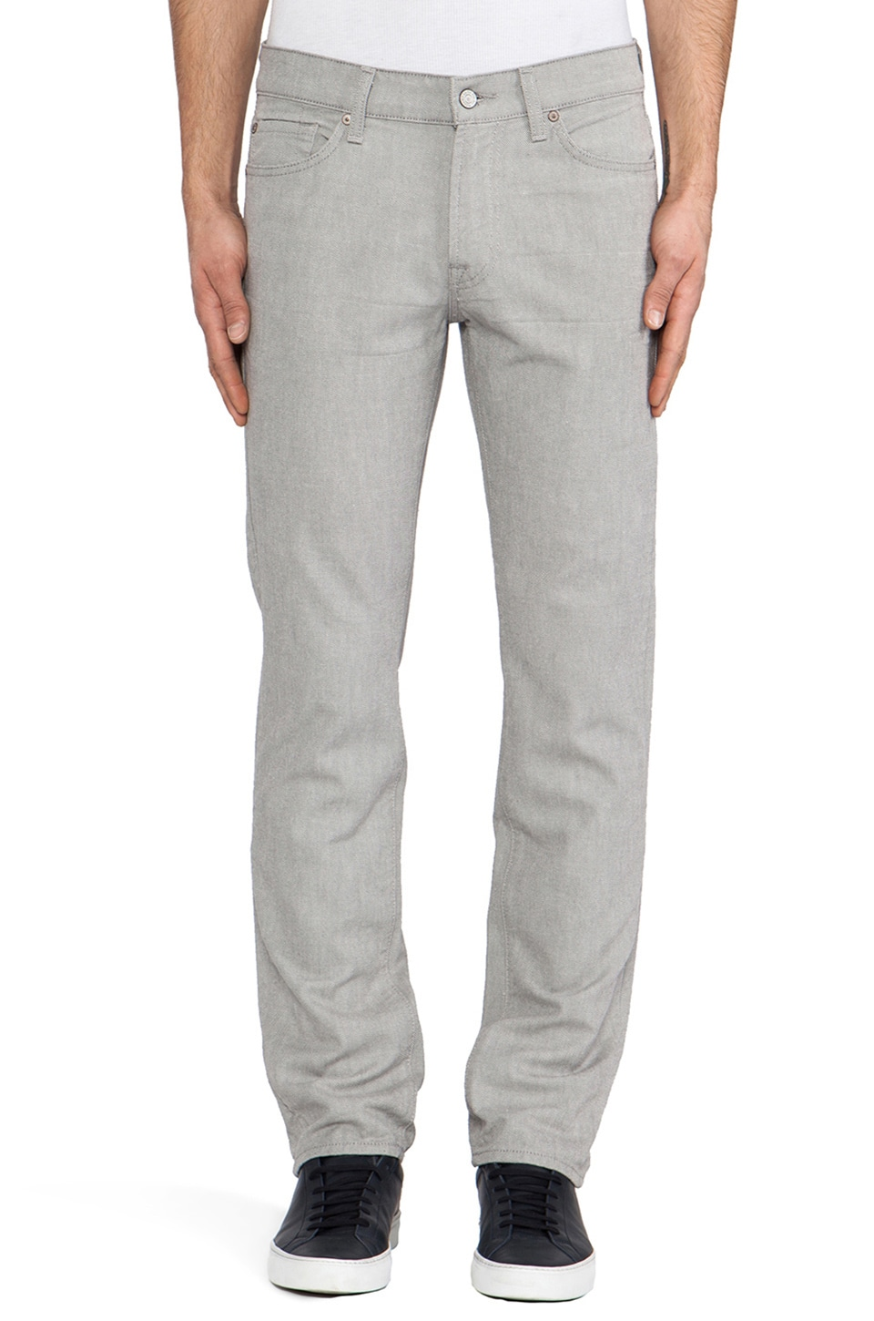 7 For All Mankind White Weft Slimmy in Grey
