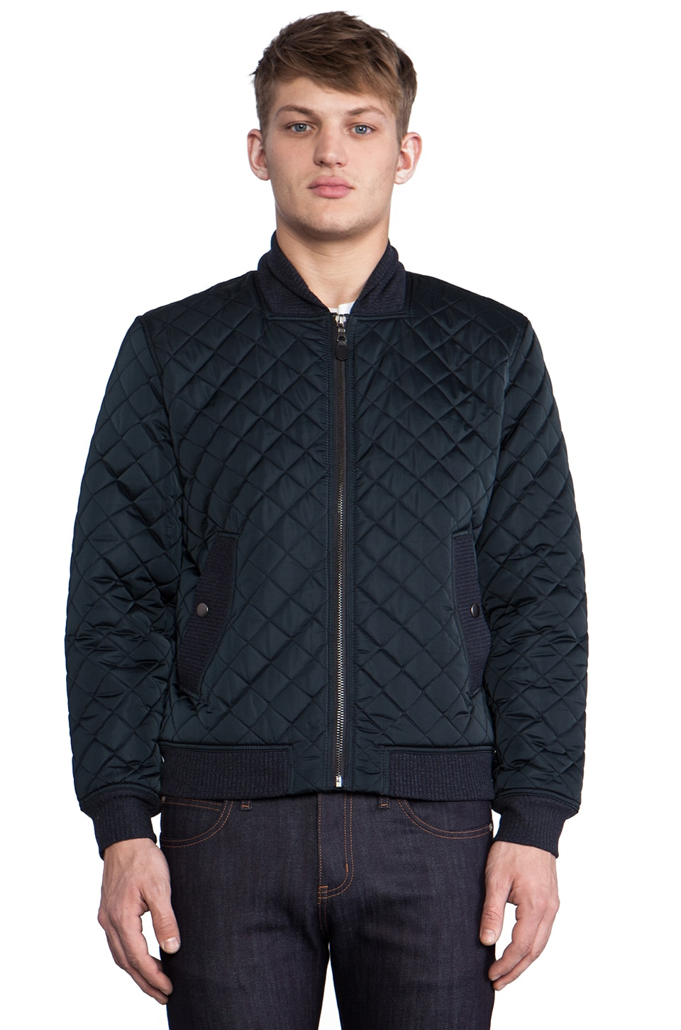 7 For All Mankind Quilted Bomber Jacket in Deep Sea