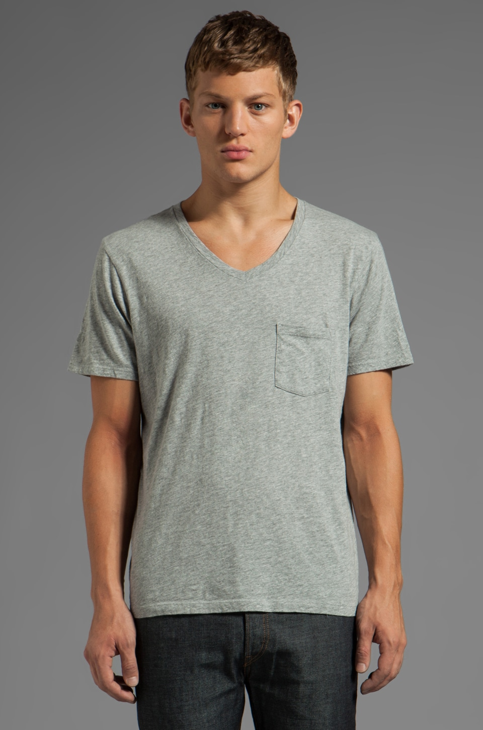7 For All Mankind V-Neck Pocket Tee in Heather
