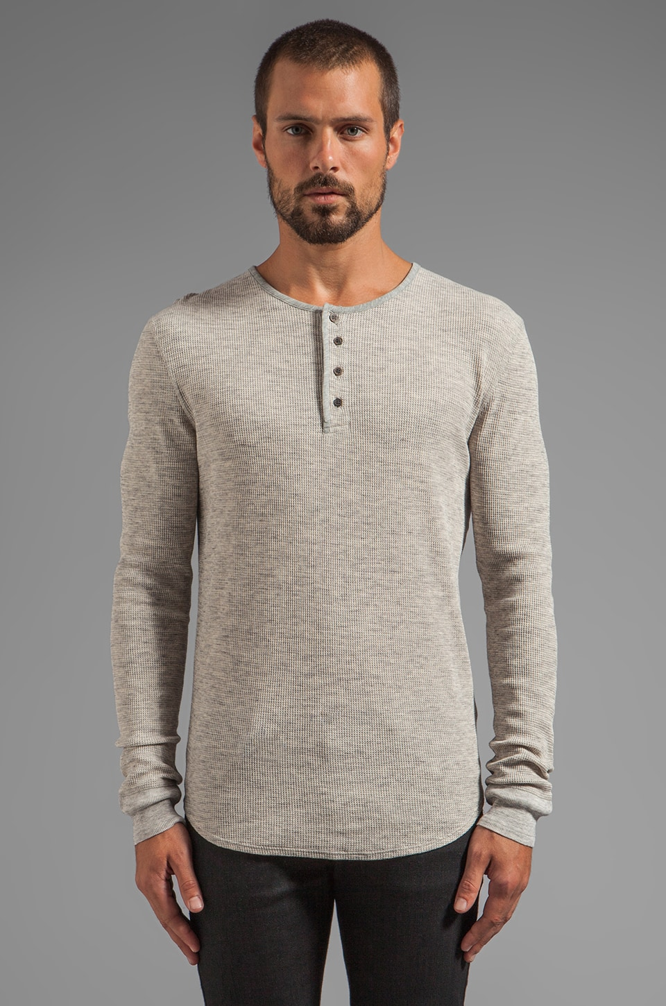 7 For All Mankind Waffled Henley in Heather