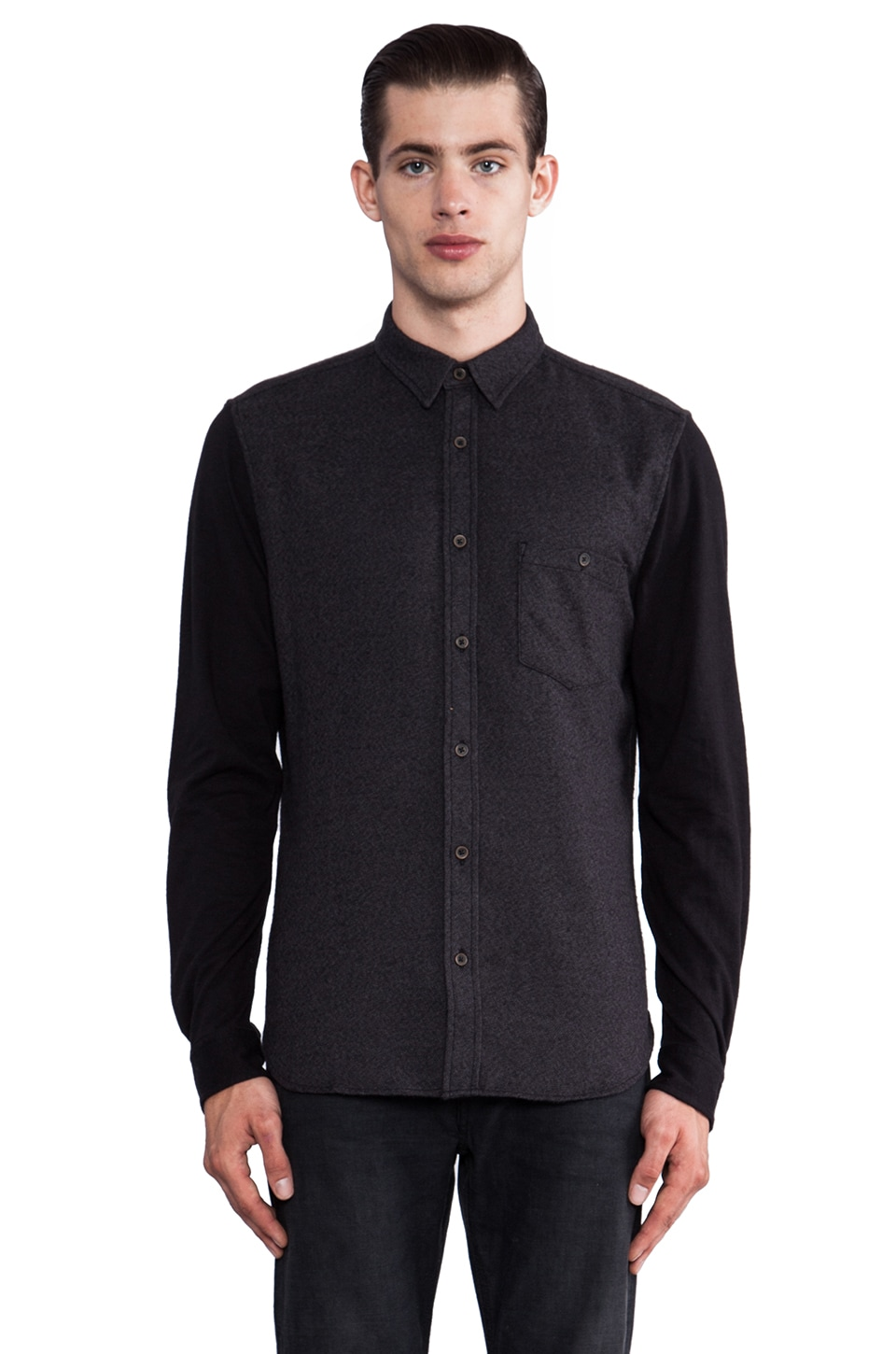 7 For All Mankind Knit Sleeve Button Down in Onyx