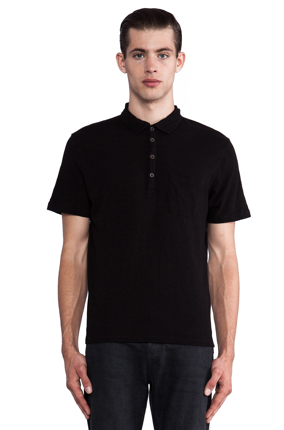 7 For All Mankind Slub Polo in Black