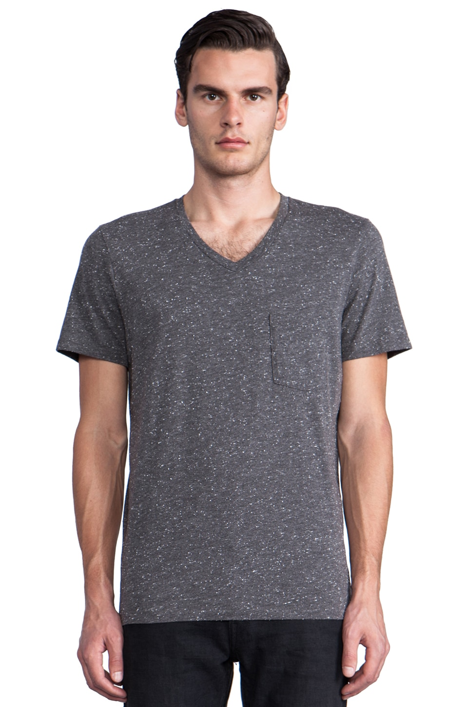 7 For All Mankind Nep V Neck in Heather Grey