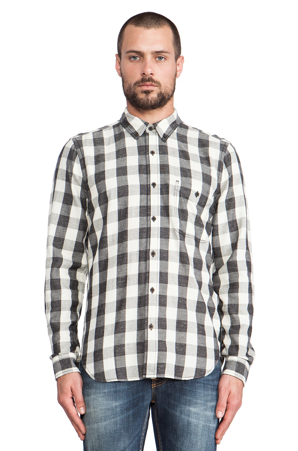 7 For All Mankind Oxford Check Button Up in Black & Natural