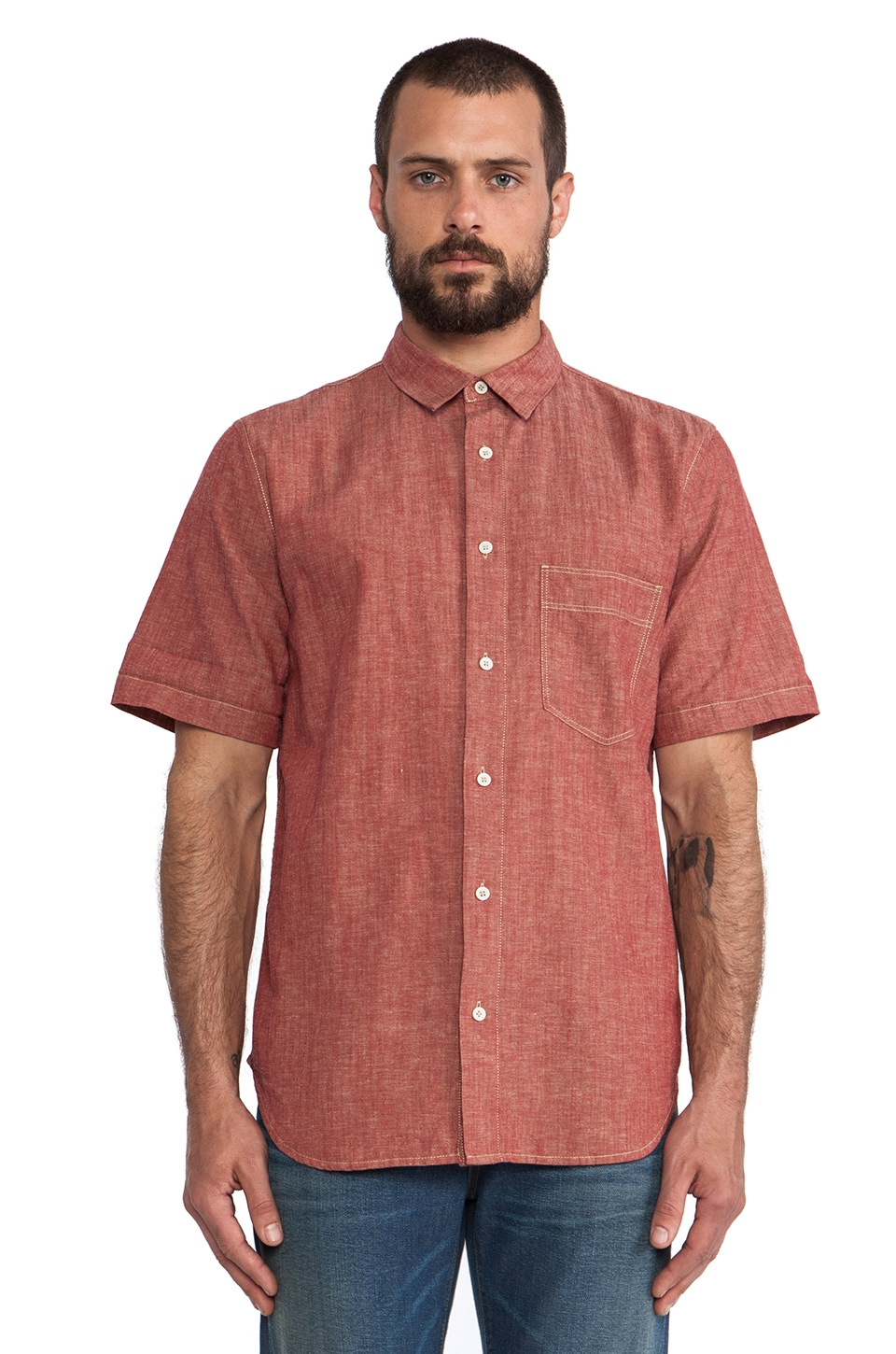 7 For All Mankind Chambray Button Up in Ruby Red