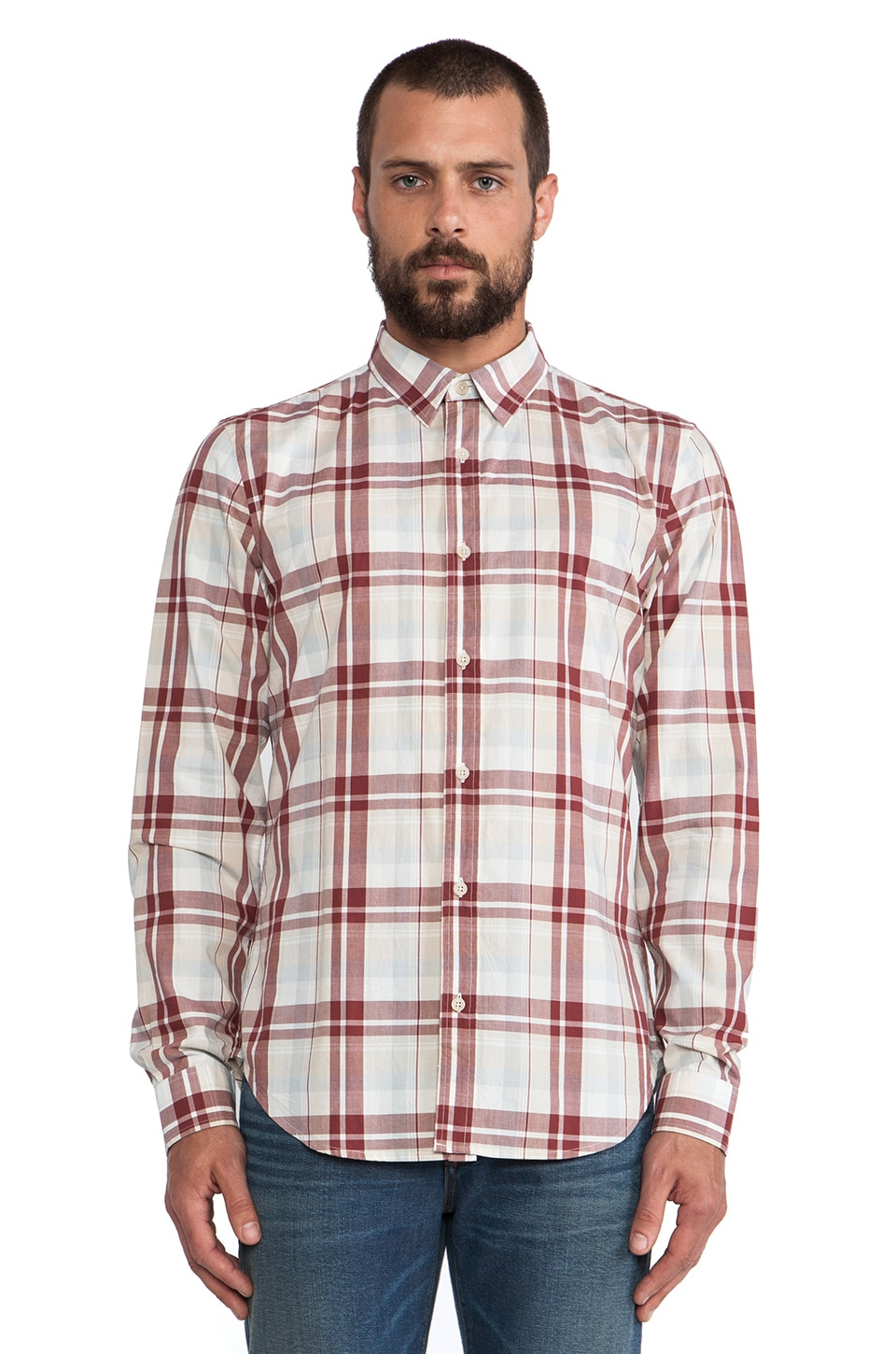 7 For All Mankind Oversized Plaid Button Up in Stone & Brick