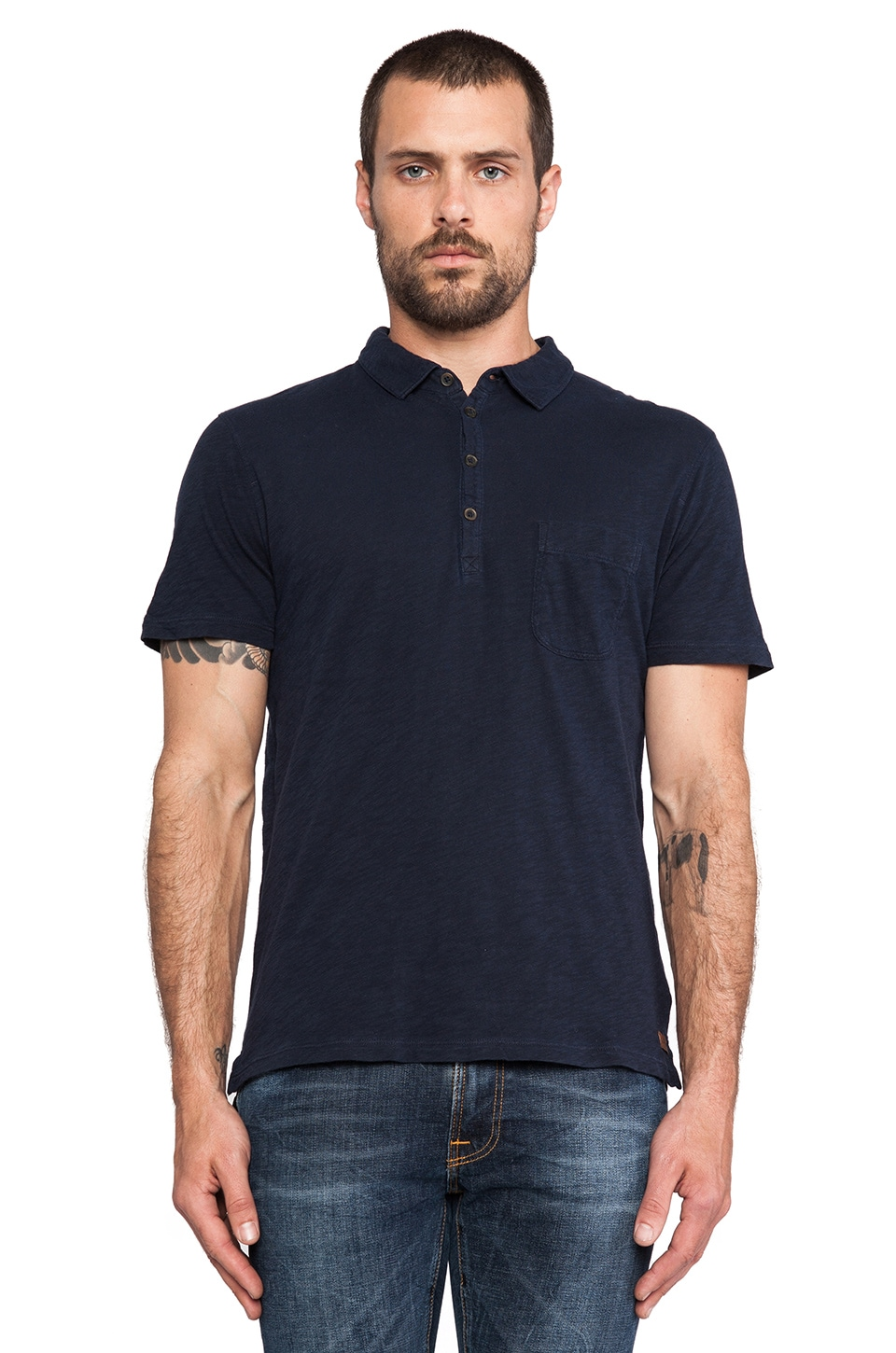 7 For All Mankind Lightweight Slub Polo in Coastal Blue