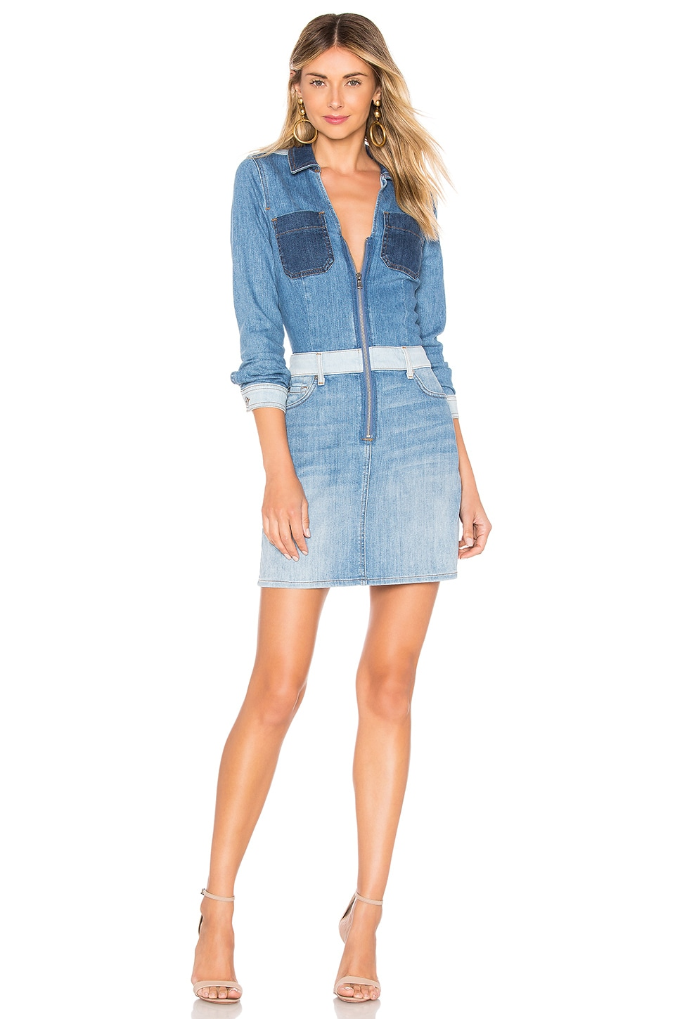 7 For All Mankind Workwear Dress in Patchwork Sunrise