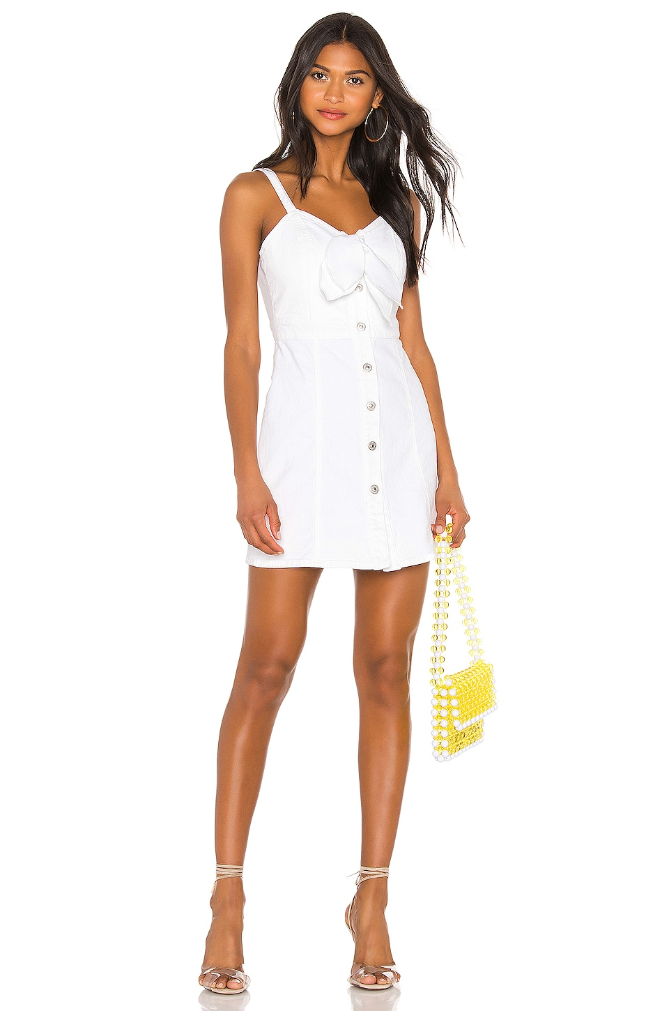 7 For All Mankind Tie Front Dress in White Runaway