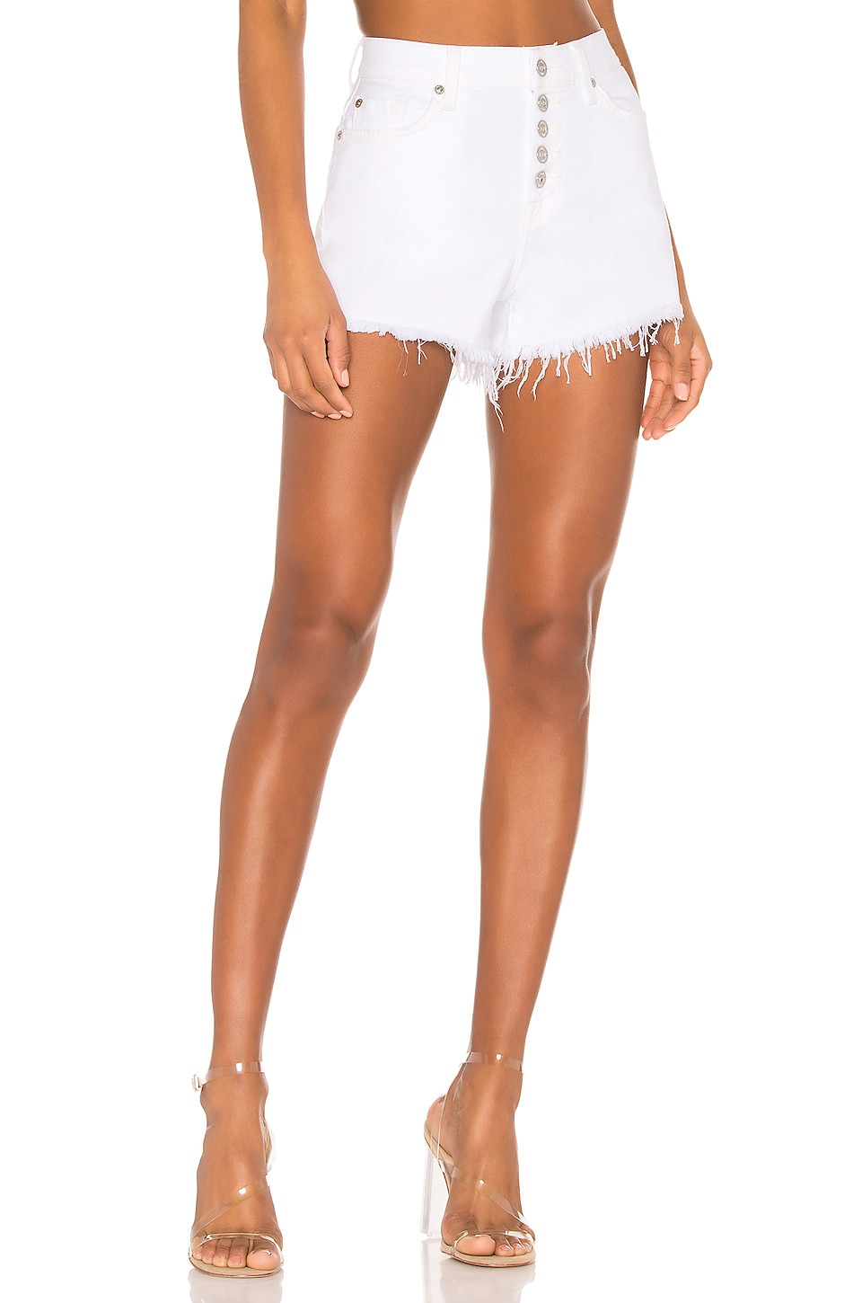 7 For All Mankind High Waist Cut Off Short in White Runaway