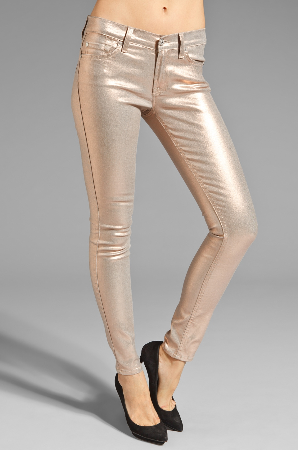 7 For All Mankind The Skinny in Metallic Light Blush