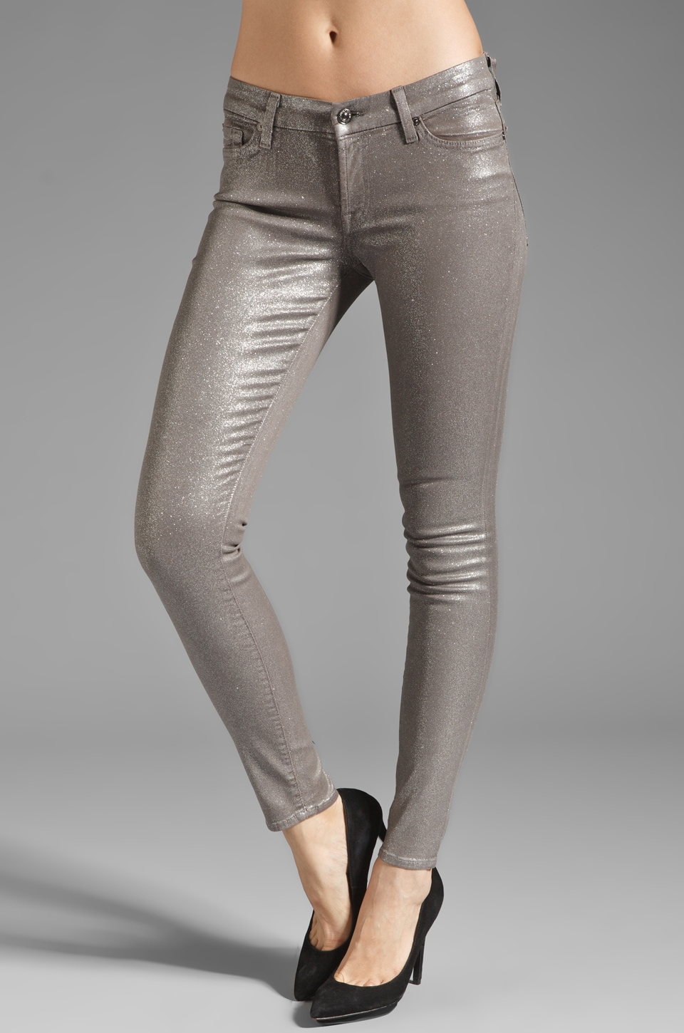 7 For All Mankind The Skinny in Grey Glitter