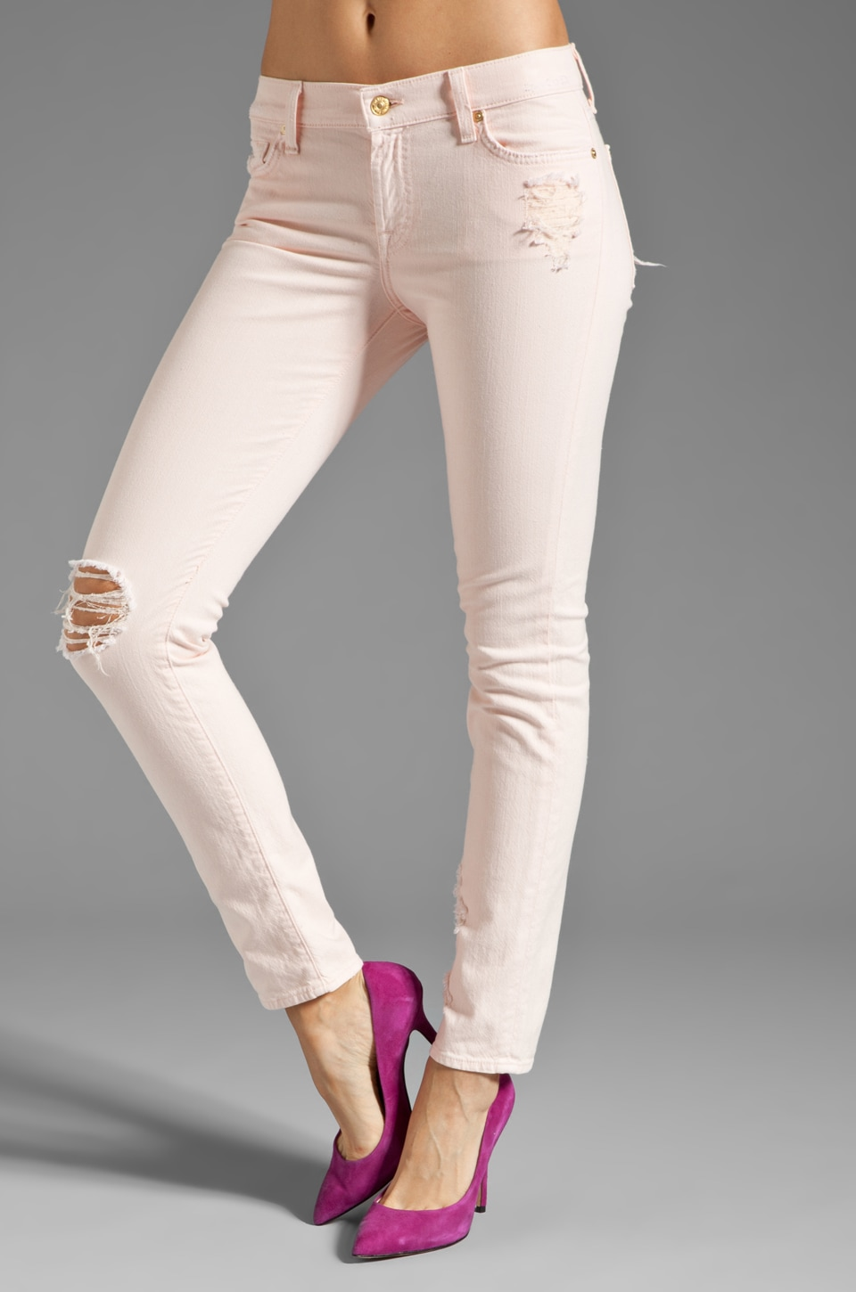 7 For All Mankind The Slim Cigarette in Ballet Pink