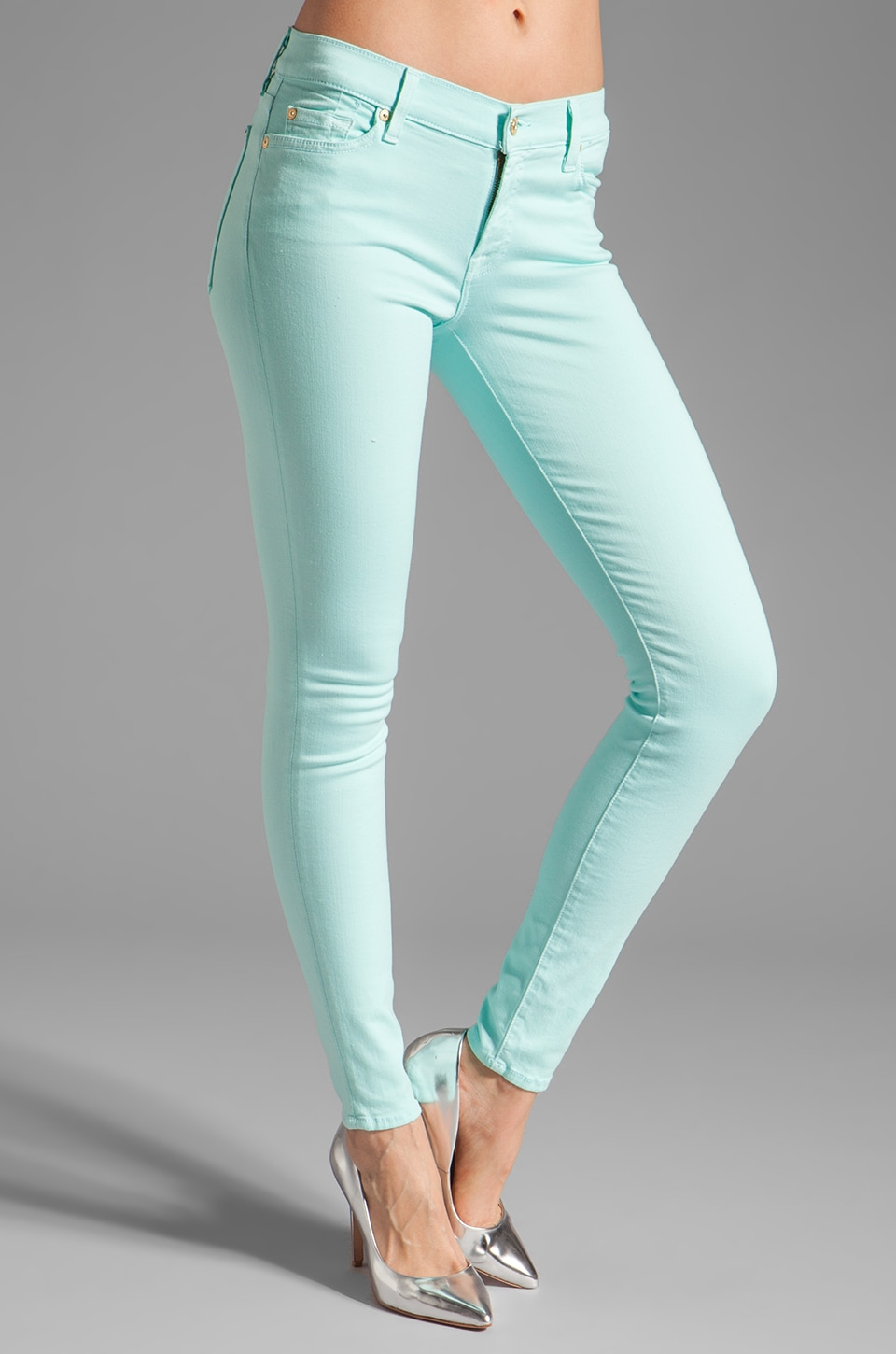 7 For All Mankind The Skinny Slim Illusion in Bright Aqua