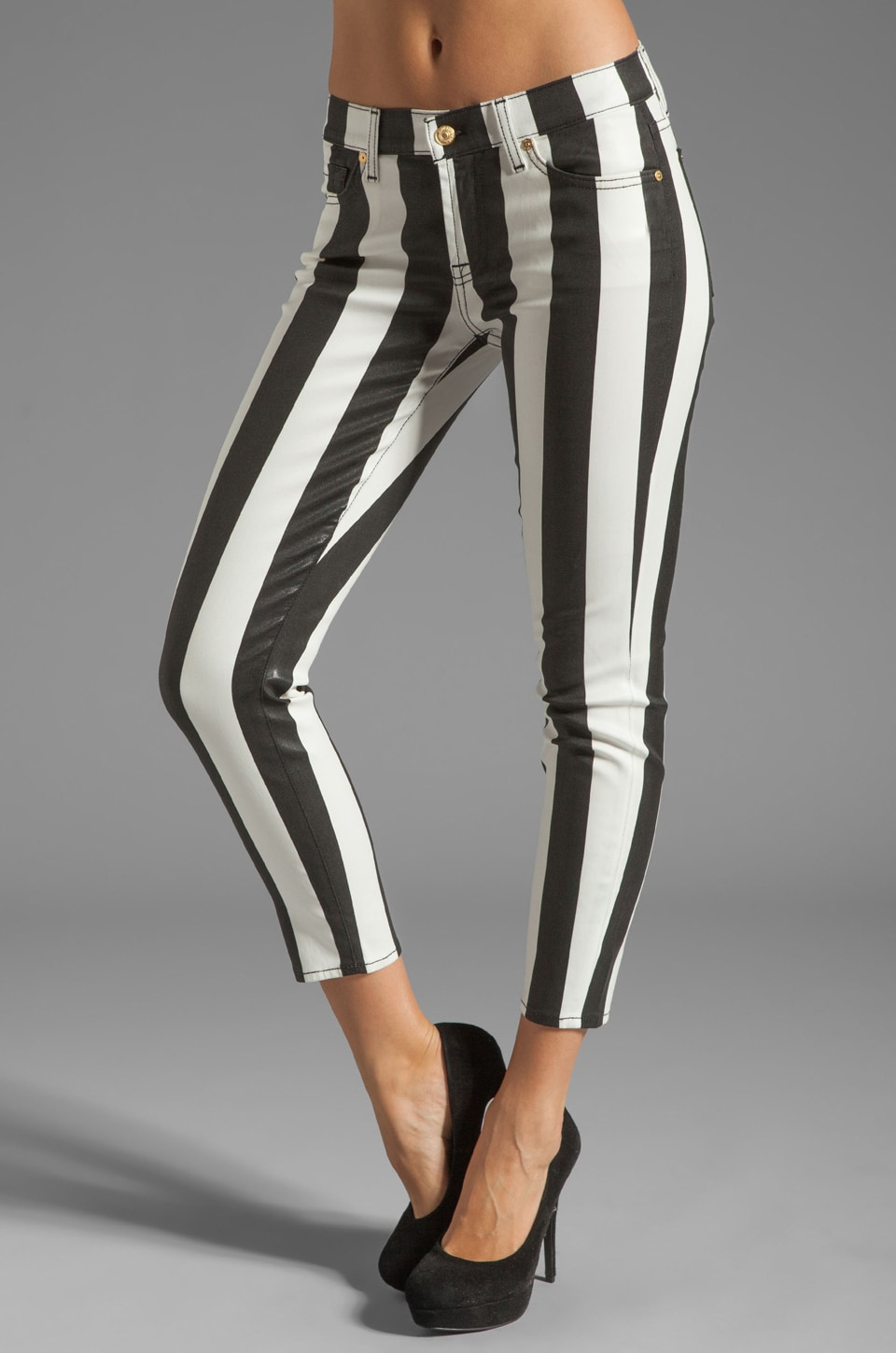 7 For All Mankind Crop Slim Cigarette in Black & White Stripe