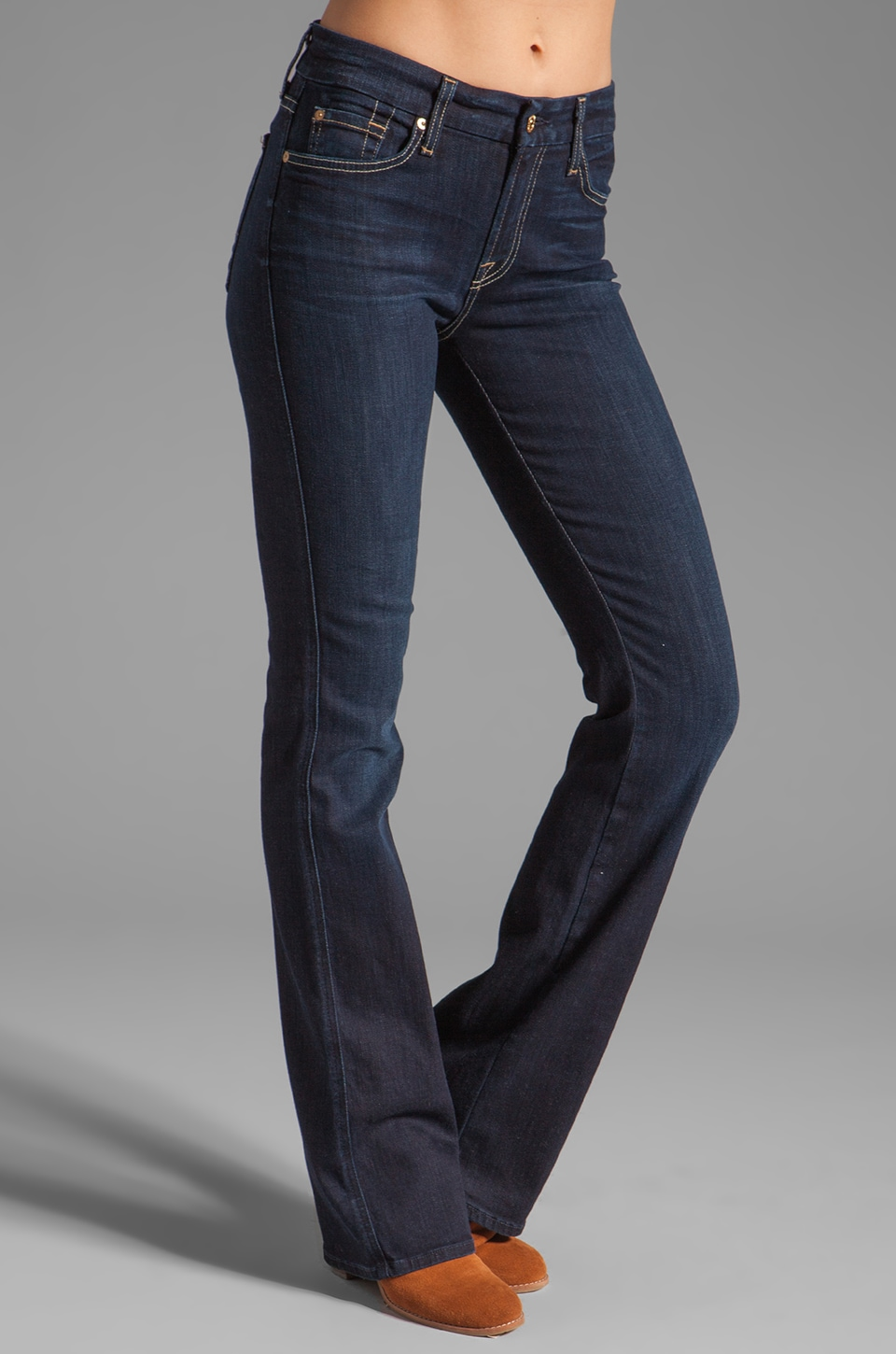 7 For All Mankind Mid Rise Kimmie Bootcut in Black Night