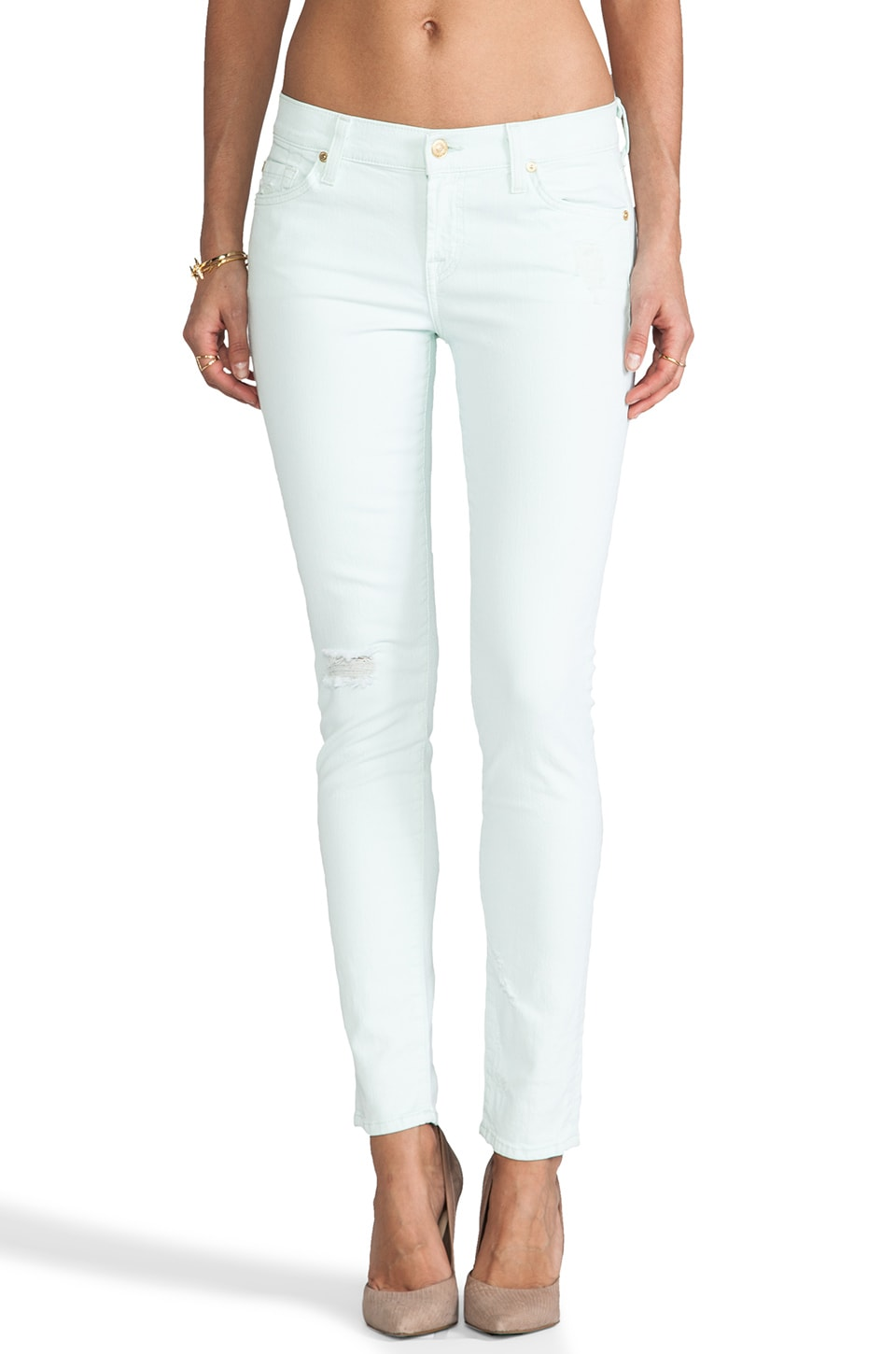 7 For All Mankind The Slim Cigarette in Aqua Destroy