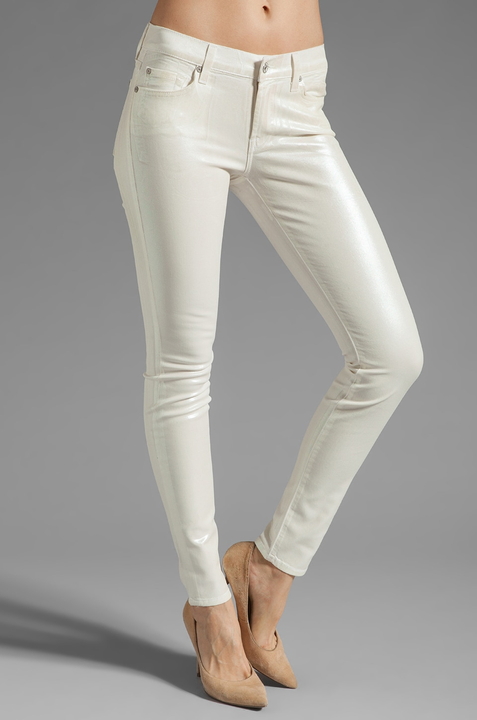 7 For All Mankind The Skinny in White Opalescent
