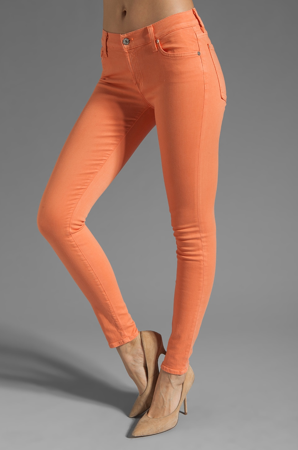 7 For All Mankind The Skinny Slim Illusion in Apricot