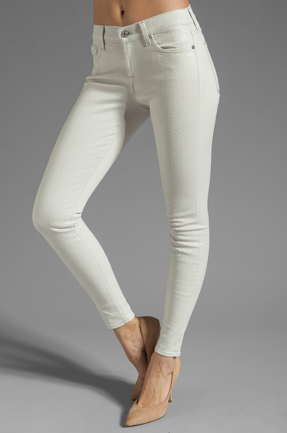 7 For All Mankind The Skinny in White Clear Snake