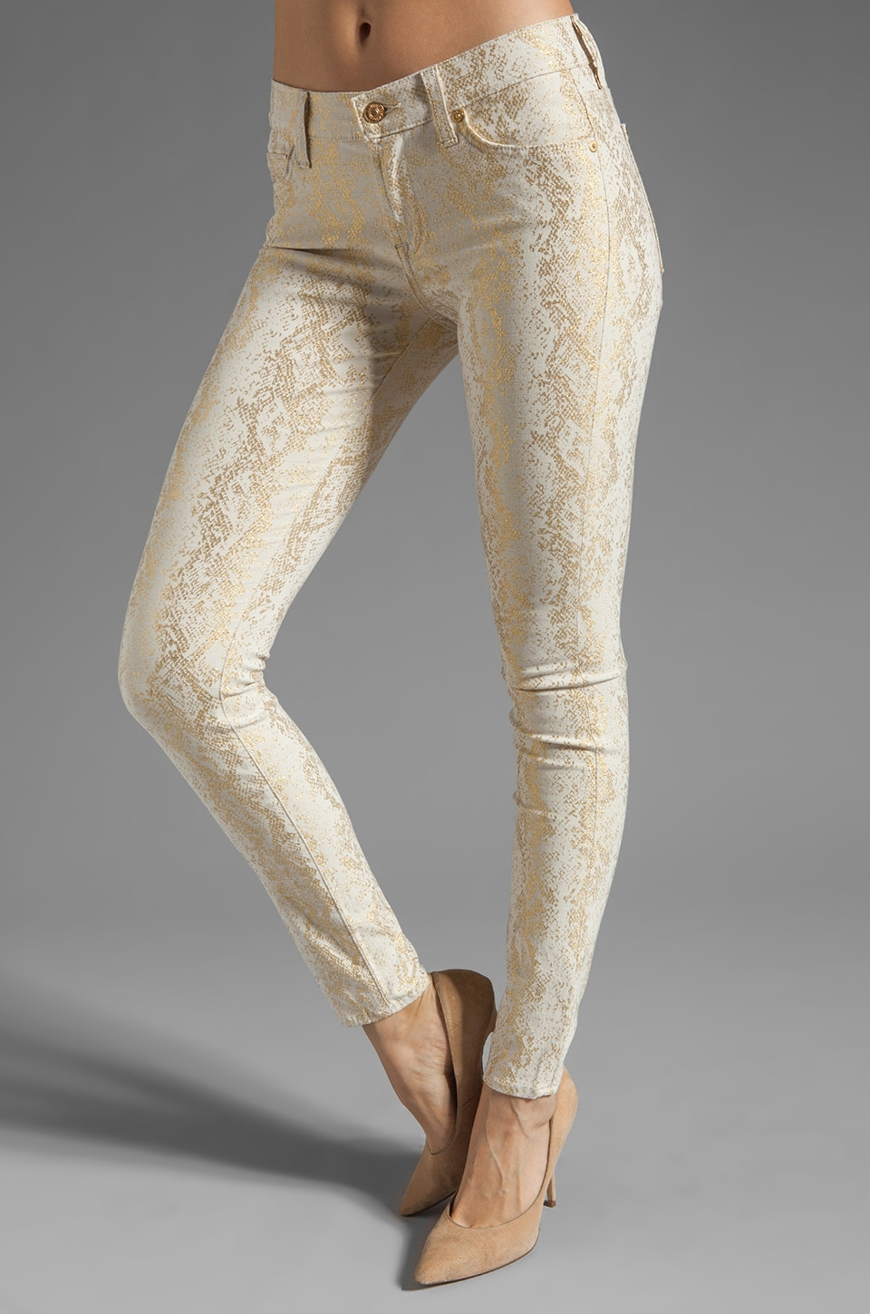 7 For All Mankind The Skinny in White/Gold Jacquard