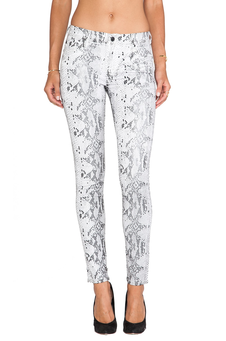7 For All Mankind The Skinny in White with Black Cobra