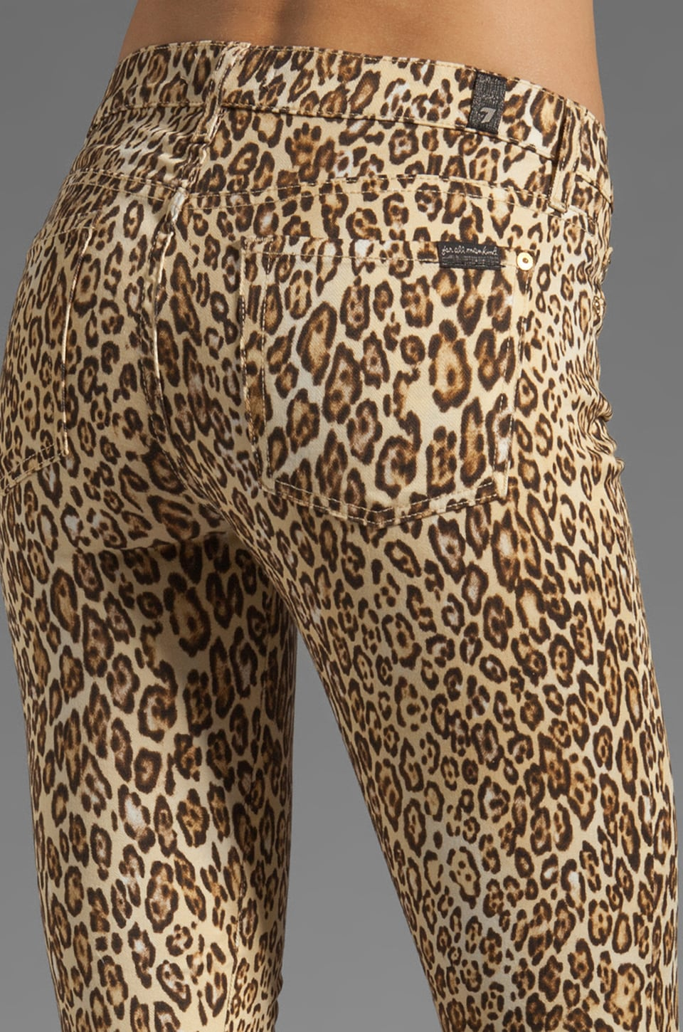 7 For All Mankind The Slim Cigarette with Gold Zips in Cheetah Print